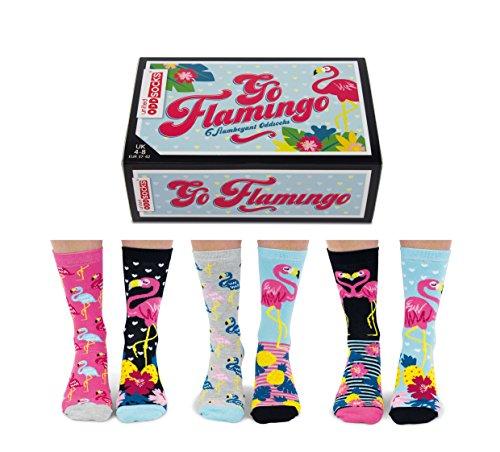 United Oddsocks Go Flamingo Socken für Damen, Größe 37-42 EU / 3–8 UK