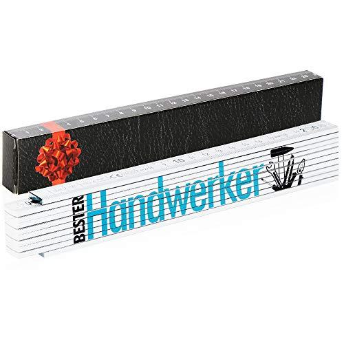 Robin Goods® Meterstab - 2 Meter Zollstock als Geschenk mit der Aufschrift 'Bester Handwerker' Geschenk zum Vatertag, Weihnachten, Geburtstag (weiß - Motiv 6 - Bester Handwerker)