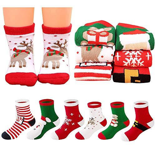 MMTX Weihnachten Socke Baumwolle Tier Weihnachtsmann 6 Paar Weihnachten Socken Geschenke 0-10 T (L (7-10 Jahre))