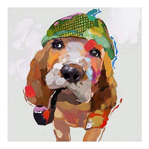 WZYYHH Moderne Handgemalte Tiere Ölgemälde Für Wohnzimmer Wandbilder Abstrakte Kunst Lustige Hundebilder Auf Leinwand Wand Deocr