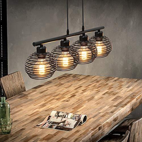 ZMH Pendelleuchte Vintage Schwarz Hängelampe Retro Industrial Hängeleuchte für Esstisch Wohnzimmer Küche Schlafzimmer hängend Kabel an der Decke Käfig Lampenschirm aus Metall 4*E27 flammig Fassung
