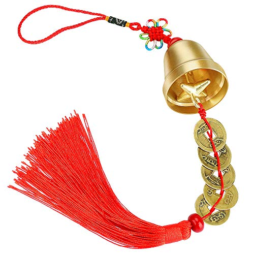 Achort Chinesische Feng Shui Glocke für Reichtum und Sicherheit, Anhänger Münzen für Erfolg, Abwehr von Böse, Ruhe und Erfolg, als Windspiel, Türklingel oder Dekor, Auto-Innenausstattung (rot)
