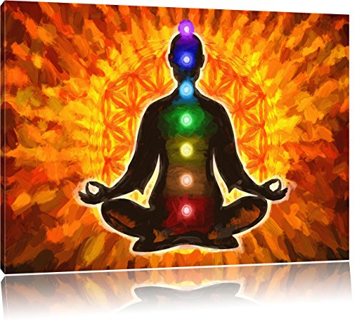 Pixxprint Meditation mit den 7 Chakren Kunst Pinsel Effekt, Format: 80x60 auf Leinwand