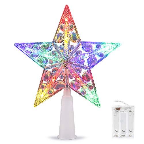 Weihnachtsbaumspitze Stern, VOLADOR Weihnachtsbaum Stern 6 Zoll, Christbaumspitze Stern Tannenbaum Spitze Mehrfarben LED für Feiertags-Dekorationen