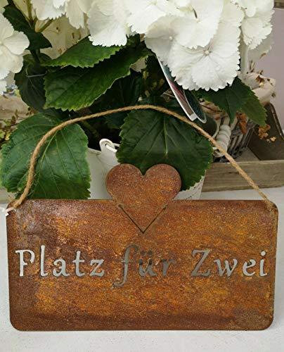 Gartenzaubereien Schild Platz für Zwei mit Herz,Edelrost