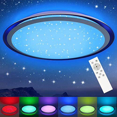 LED Deckenleuchte RGB Dimmbar mit Fernbedienung, 3000K-6500K, 24W OPPEARL Sternenhimmel Deckenlampe Farbwechsel mit Sternendekor für Wohnzimmer Schlafzimmer Büro Esszimmer Küche, 2000lm, Φ46cm