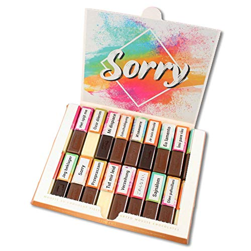 Aufkleber-Set Sorry passend für Merci Schokolade mit Sorry in verschiedenen Sprachen und blanko Aufklebern I selbstklebend I kreative Geschenk-Idee I Unkompliziert und Individuell I dv_912