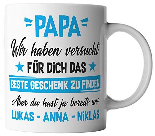 vanVerden Tasse Papa Wir haben versucht für dich das beste Geschenk zu finden, aber du hast ja bereits uns. Wunschnamen anpassbar personalisiert, Farbe:Weiß/Bunt