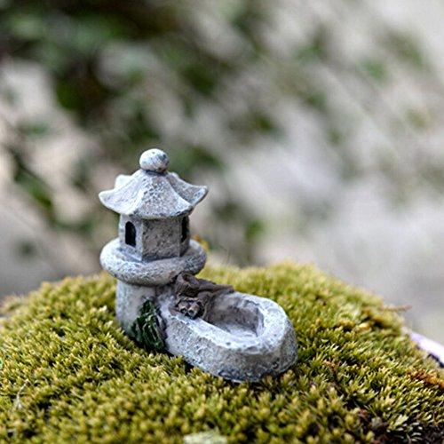 ROKFSCL-Mini-Laterne, asiatische Pagode, für den Außenbereich / Gartendeko, Kunstharz, Mini-Landschaftsdekoration, 4,5 x 5 cm, zufällige Farbauswahl, Wie abgebildet, 4.5*5.5cm/1.77'*1.97'
