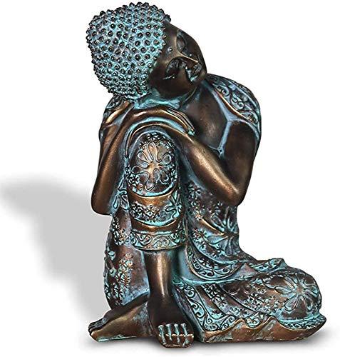 QMZDXH Sitzende Buddha Statue, Meditierend Ornamente Thailändischen Stil Feng Shui Skulptur Dekoration für Zuhause Geschenk Deko Bad