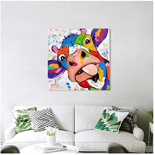 cgsmvp Bunte lustige Kuh-Wand-Kunst-Tierbild-Segeltuch-Anstrich-Kuh für Wohnzimmer-Druck-Plakate/50x50cm-Kein Rahmen