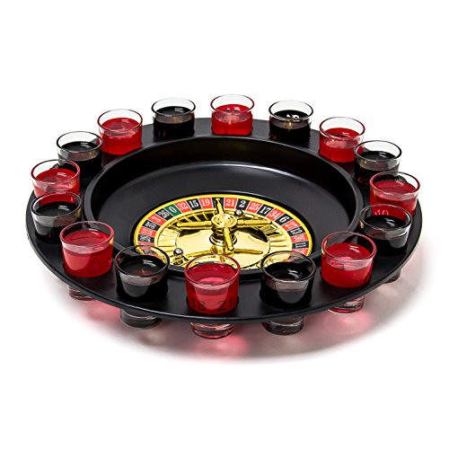 Relaxdays Roulette Trinkspiel, Partyspiel mit Drehrad, Schnapsgläsern & Kugeln, Roulettespiel für Partys, rot/schwarz