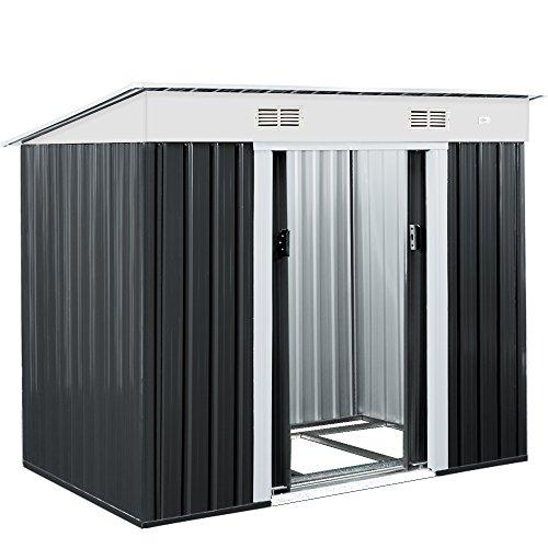Deuba L Metall Gerätehaus 3,4m³ mit Fundament 196x122x180cm Schiebetür Anthrazit Geräteschuppen Gartenhaus