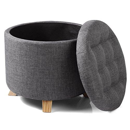 WOLTU® Sitzhocker mit Stauraum Fußhocker Aufbewahrungsbox, Deckel abnehmbar, Gepolsterte Sitzfläche aus Leinen, Massivholz, 44x41CM, Dunkelgrau, SH19dgr