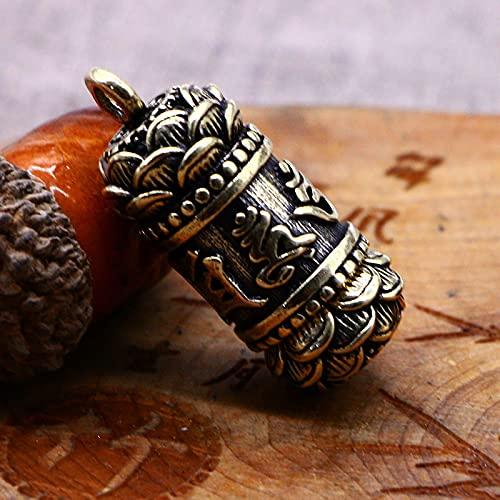 Pure Messing Buddha Mantra Zylinder Anhänger Keychain Hängende Halskette Schmuck Handgemachte Kupfer Buddhismus Chinesischer Sutra Keyring Überraschungsgeschenk (Color : B)