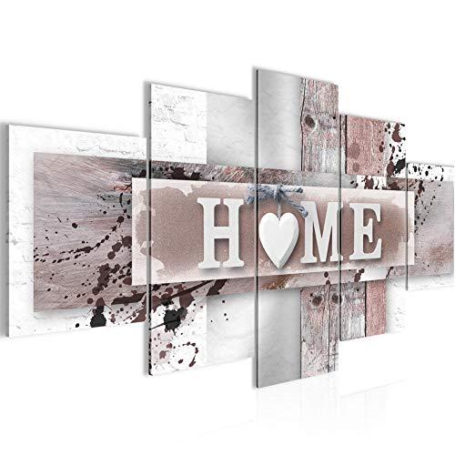 Runa Art Bilder - Home Herz 200x100 cm - Wandbild Wohnzimmer XXL Flur Vintage - Grau Rosa 504551b