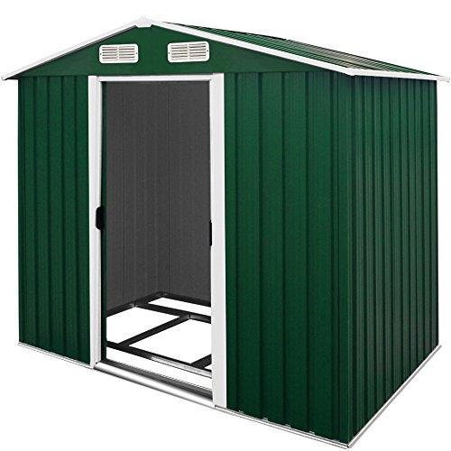 Deuba XL Metall Gerätehaus 4,2m³ mit Fundament 210x132x186cm Schiebetür Grün Geräteschuppen Gartenhaus Schrank