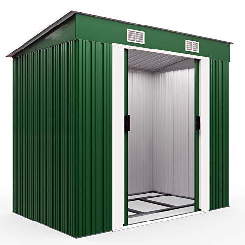 Deuba L Metall Gerätehaus 2m² mit Fundament 196x122x182cm Schiebetür Grün Geräteschuppen Gartenhaus 3,4m³