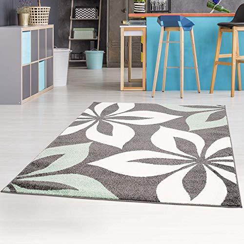 carpet city Teppich-Läufer mit Blumen Moda Modern Flachflor in Mintgrün für Wohnzimmer, Kinderzimmer; Größe: 80x300 cm