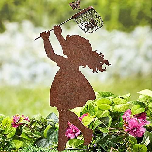 Snakell Rost Gartenstecker Mädchen Junge 36 x 16 cm Edelrost Gartendeko Rostoptik Metall Dekoration für Garten Terrasse Balkon   Blumenstecker in Edelrost-Optik