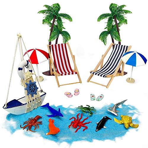 Tatuer Mini-Stranddekorationen Liegestühle Palmen Sonnenliegen Sonnenschirme Meerestiere Holzboot Miniatur Deko Geschenken Für Sandkasten Torte Vitrine Wohnzimmer Schreibtisch (17 STK)