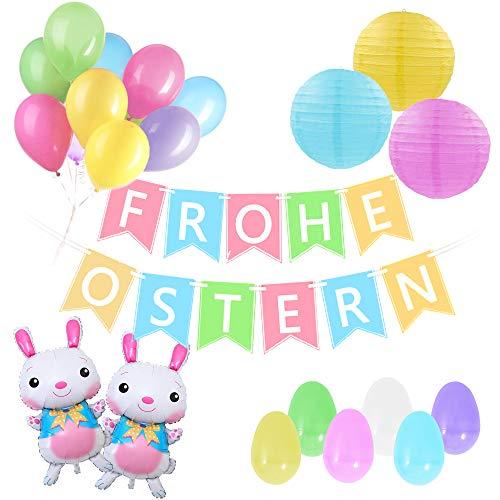 SicurezzaPrima Ostern Deko Set XXL 2020-34-teilig - Osterdeko in Pastellfarben - Girlande, Pastell Ballons, Lampions, XXL Hasenballons, Bunte Ostereier, Dekoration, Ostern, Osterdeko