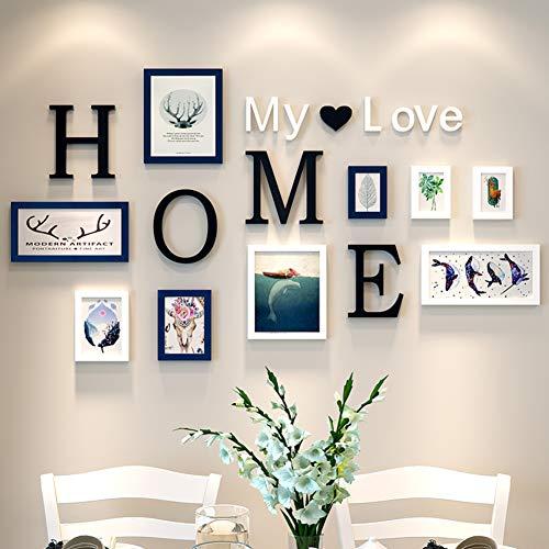 MUZIDP Kreativ Wohnzimmer Fotowand, Massivholz Multi-Bild Foto-Frame-Kombination,Home Office Foto-Rahmen-Wand-Set-C