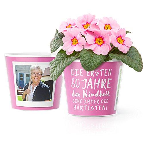 80.Geburtstag Geschenk - Blumentopf (16cm)   Lustige Geburtstagsgeschenke fr Frau oder Mann mit Bilderrahmen fr zwei Fotos (10x15cm)   Die ersten 80 Jahre Kindheit sind immer die hrtesten!