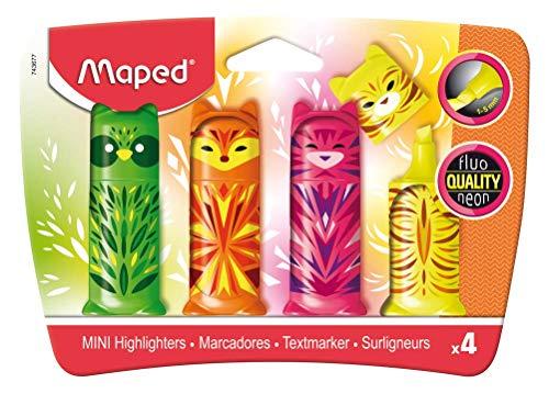 Maped - Mini-Textmarker, Pocket-Textmarker FLUO PEPS MINI FRIENDS - x4 Marker