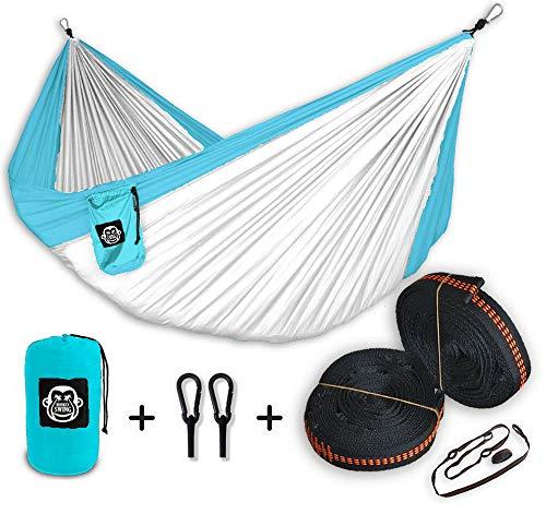 Monkey Swing Hängematte inkl. Aufhängeset für Outdoor, Reise, Garten, Freizeit (Weiß/Polarblau)