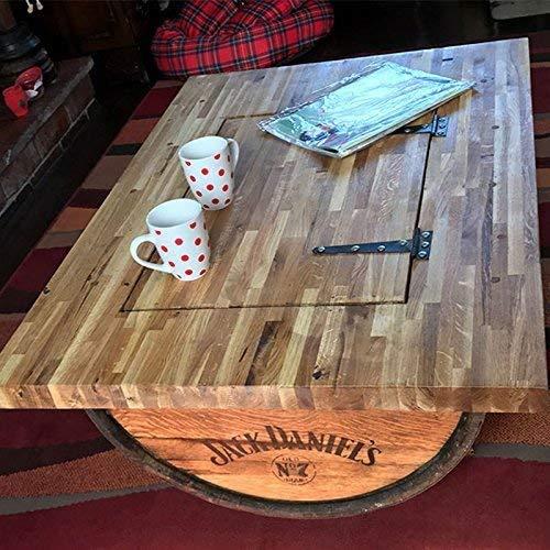 Recyceltem Hälfte Whisky Barrel Couchtisch mit massiver Eiche Tisch Top, Jack Daniel 's Logo und Ablagefach