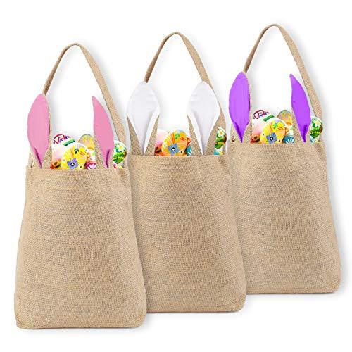 colmanda Osterhasen Taschen, 3 Pack Osterkorb Jute, Osterhasen Korb Taschen, Osterhasen Körbe für Kinder Eiersuche, Süßigkeiten, Geschenken zu Osterparty