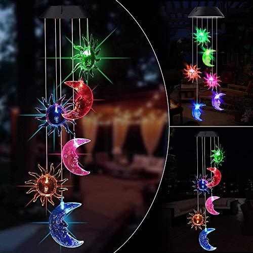 specool Solar Windspiel Lichter für Garten, LED Solar Sonne Mond hängendes Windspiel Licht mit Farbwechsel Wasserdicht Draußen dekorativ Gartenlampe für Terrasse Hof Garten Deko