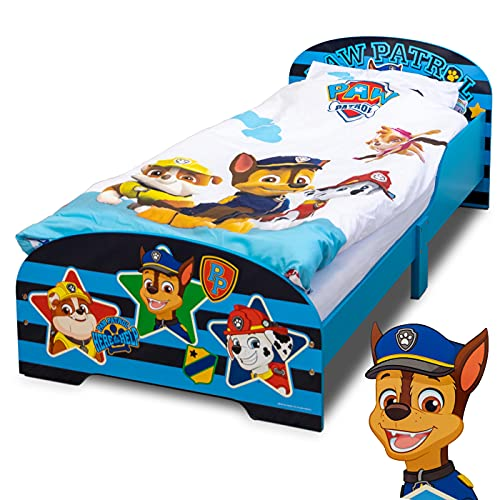 PAW Patrol Bett 140 x 70 cm | Kinderbett für Jungen und Mädchen ab 2 Jahren | Juniorbett mit Rausfallschutz & Lattenrost | Kinderzimmermöbel mit coolem Design