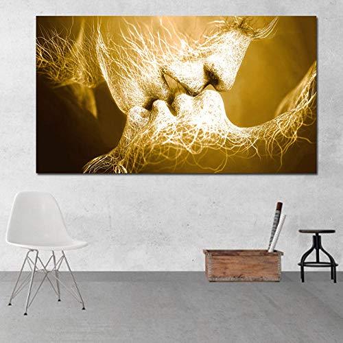 CYACC Ungerahmt Abstraktes ölgemälde Liebe Kuss Wandkunst Leinwandbilder Für Wohnzimmer Moderne Bilder Home Decoration @ 60x120cm_Love_kiss_1