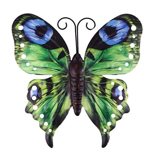 Cabilock Schmetterlinge Deko Metall Wandkunst Wandschmuck Eisen Wandbild Gartenfigur Tierfiguren für Terrassen Zuhause Geburtstag Hochzeit Weinachten Party Wanddeko Gartendeko Grün