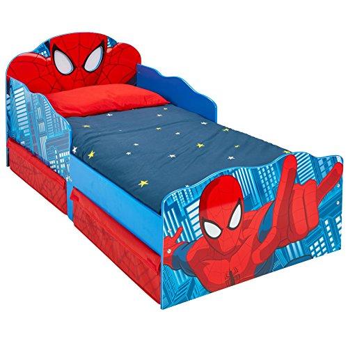 Kleinkinderbett für Jungs im Design von Spider-Man, mit beleuchteten Augen und Stauraum