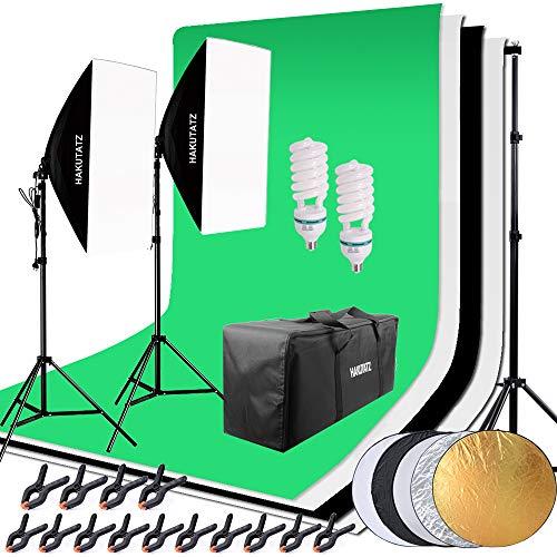 HAKUTATZ® Profi Fotostudio Set Studioleuchte Studiosets Hintergrundsystem inkl. 4X Hintergrund(schwarz, 2x weiß, grün) 5-in-1 Reflektor Lampenstativ Softbox Fotografie mit Schutztasche Greenscreen Set