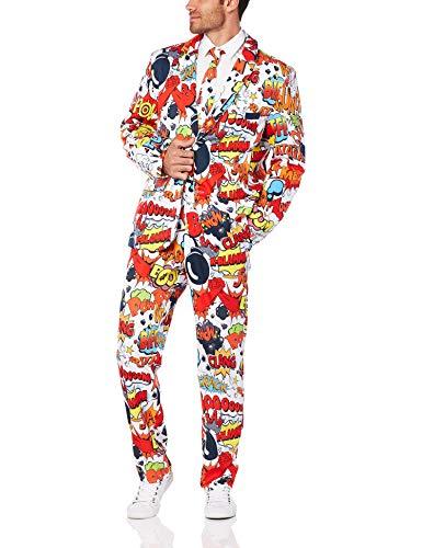 Smiffys, Herren Comic Strip Anzug Kostüm, Jacke, Hose und Krawatte, Mehrfarbig (Red & White) ,Größe: M, 43526