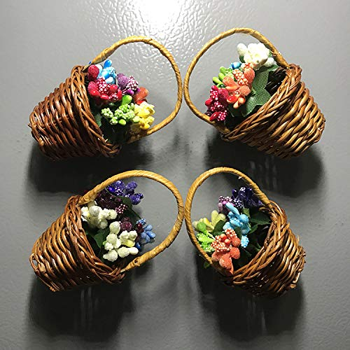 Kühlschrankmagnete 4 Stück Magnetische Kühlschrankdekoration Kunstharz Blumenkorb Stil Kühlschrankmagnet Souvenir DIY Familie Garten Dekoration Kühlschrank Aufkleber