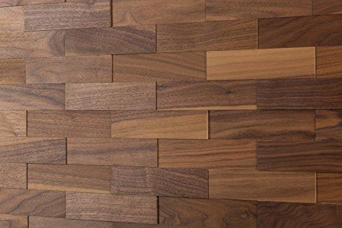 wodewa Wandverkleidung Holz 3D Optik Nussbaum 1m² Wandpaneele Moderne Wanddekoration Holzverkleidung Holzwand Wohnzimmer Küche Schlafzimmer I Geölt