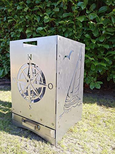 Gartendeko Fockbek Feuerkorb Maritim inkl. Aschefach und Zwischenboden sehr stabil Maße ca. 40x40x60 cm (Motiv Leuchtturm,Segelboot,Windrose,Anker)