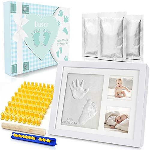 Dusor Gipsabdruck Baby Hand und Fuß, Baby Geschenk Junge, Baby Handabdruck und Fußabdruck Set mit Buchstaben Set und Bilderrahmen, Geschenke zur Geburt, Erinnerungen für die Ewigkeit