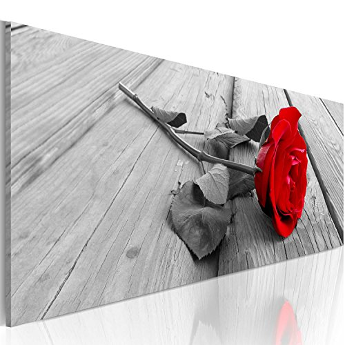 murando - Bilder Blumen Rose 120x40 cm Vlies Leinwandbild 1 TLG Kunstdruck modern Wandbilder XXL Wanddekoration Design Wand Bild Panoramabild - Liebe rot grau b-B-0026-b-a
