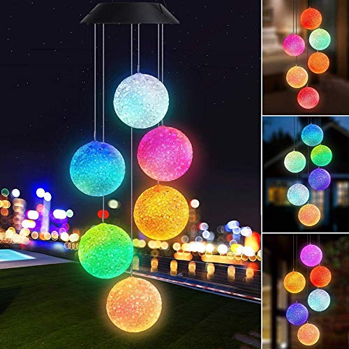 Joomer Farbwechsel Solar Windspiel Sechsbaelle Mobile Romantic Wind-Bell Outdoor LED Haengende Nachtlichter Fuer Garten Hof Festival Decor