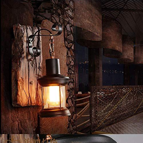 Retro Wandleuchte Vintage Industrielle Holz Wandbeleuchtung Metall Glas Innenwandleuchte E27 Fassung Rustikal Wandleuchte Antik Wohnzimmer Wandlampe Style Loft Bar Café Restaurant Schlafzimmer (A)
