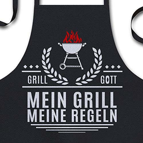 YORA Grillschürze für Männer Vatertagsgeschenk - Mein Grill - Kochschürze lustig [inkl. Urkunde] - lustige Geschenke zum Vatertag - Geschenkideen Papa & Opa