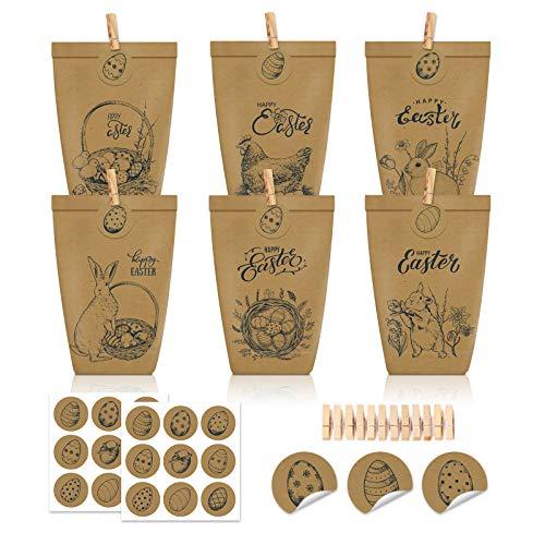 Shalwinn 12 Stück Bedruckte Tüten zu Ostern mit Hasen, Blumen und Küken,mit Holzklammern und 12 Stück Ostern Aufklebern, ideale Geschenkidee oder Oster Dekoration