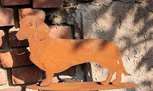 Edelrost Hund/Dackel Waldi, Tierfigur aus rostigen Metall größe 2