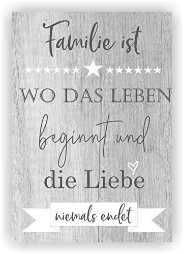 KT-Schmuckdesign Bild Holzdruck Familie ist wo das Leben beginnt und die Liebe Niemals endet